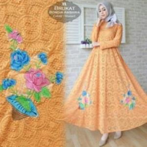 Jual Online Busana Muslim Pesta Ambaria Dress-3 Bahan Brokat Import