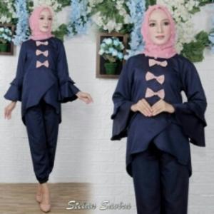 Jual Online Busana Muslim Trendy Savira Set Warna Navy Bahan Baloteli Ukuran Kecil