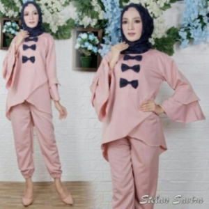 Jual Online Busana Muslim Trendy Savira Set Warna Pink Bahan Baloteli Ukuran Kecil