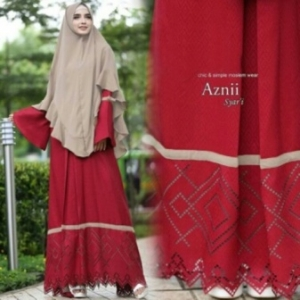 Jual Online Gamis Cantik Aznii Syar'i Warna Maroon Bahan Bubblepop