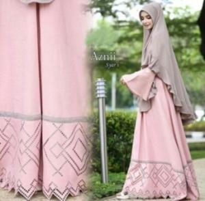 Jual Online Gamis Cantik Aznii Syar'i Warna Soft Pink Bahan Bubblepop