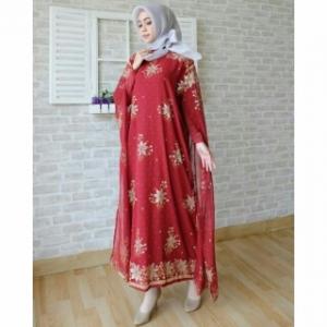 Koleksi Baju India Modern Kaftan India Warna Maroon Bahan Sari India