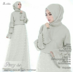 Online Shop Baju Hijabers Modern Percy Set Warna Abu Bahan Ceruty