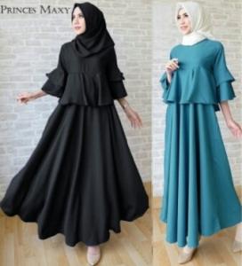 Online Shop Baju Hijabers Remaja Princess Dress -3 Bahan Balotelli