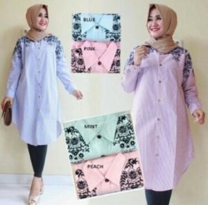 Supplier Baju Atasan Wanita Muslim Terbaru Arema Tunik Bahan Katun Yanded Salur