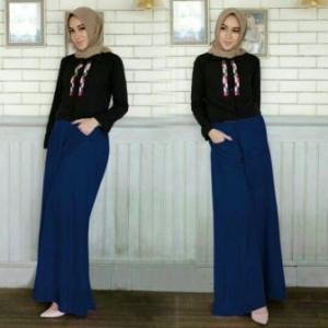 Supplier Baju Hijab Trendy Ukuran Kecil Palazo Set-2 Bahan Crepe