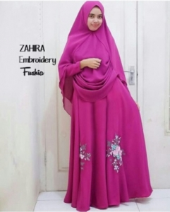 Supplier Baju Pesta Muslim Zahira Warna Fuschia Bahan Ceruty