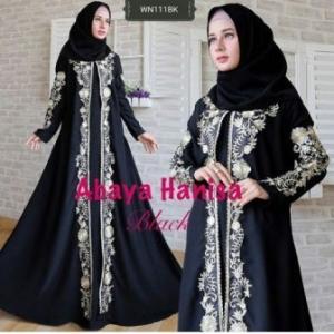 Supplier Busana Muslim Pesta Abaya Hanisa warna Hitam Bahan Jetblack
