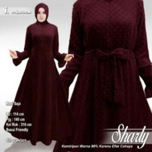 Supplier Busana Muslim Terbaru Sharly Warna Maroon Bahan Hycon Rubiah
