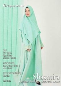 Supplier Gamis Muslimah Terbaru Shasmira Syar'i Warna Tosca Muda Bahan Balotelifes