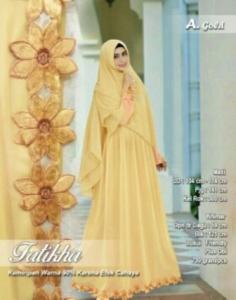 upplier Gamis Pesta Fatikha Syar'i Warna Gold Bahan Kombinasi Spandex