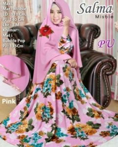 Baju Gamis Murah Dan Cantik Salma Syar'i Warna Pink Bahan Misbie