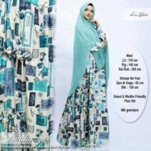 Baju Gamis Nindia Syar'i Terbaru Kekinian Warna Biru Bahan Maxmara Lux