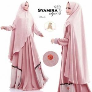 Baju Gamis Syamira Syar'i Jumbo Warna Pink Bahan Jacquard Untuk Orang Gemuk