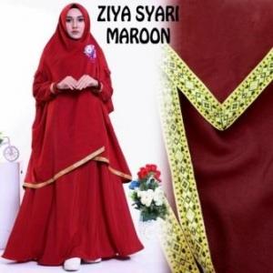 Baju Gamis Ziya Syar'i Murah Dan Cantik Warna Maroon Bahan Misby