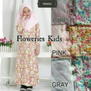 Baju Muslim Anak Perempuan Floweries Kids Warna Pink-1 Bahan Jersey