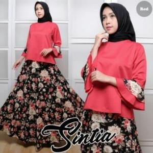 Baju Muslim Setelan Rok Panjang Sintia Set Bahan Balotelli warna Maroon