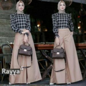 Baju Setelan Celana Hijabers Rayya Set Warna Coksu