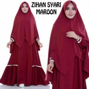 Busana Muslimah Terbaru Zihan Syar'i Warna Maroon Bahan Misbie