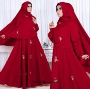 Gamis Terbaru Khalin Syar'i Warna Maroon Bahan Roberto Cavali