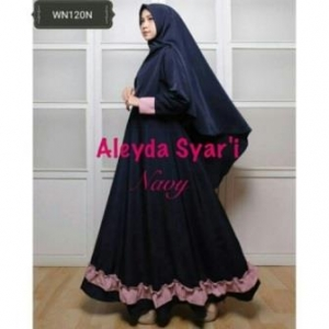 Gaun Pesta Muslimah Cantik Unik Aleyda Syar'i Warna Navy Bahan Balotelli