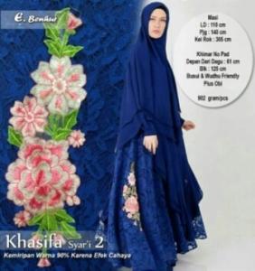 Gaun Pesta Muslimah Cantik Unik Khasifa Syar'i Warna Benhur Bahan Ceruti