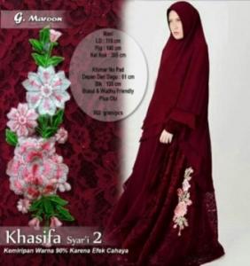 Gaun Pesta Muslimah Cantik Unik Khasifa Syar'i Warna Maroon Bahan Ceruti