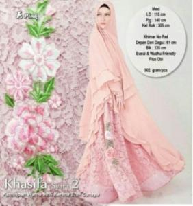 Gaun Pesta Muslimah Cantik Unik Khasifa Syar'i Warna Pink Bahan Ceruti