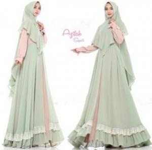 Gaun Pesta Muslimah Elegan Azifah Syar'i Warna Baby Green Bahan Ceruty
