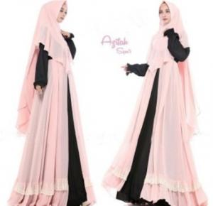 Gaun Pesta Muslimah Elegan Azifah Syar'i Warna Baby Pink Bahan Ceruty