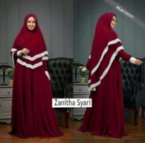 Jual Gamis Polos Zanitha Syar'i Warna Maroon Bahan Wollycrepe
