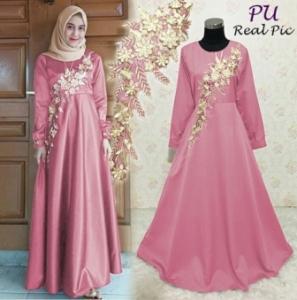 Jual Online Baju Gamis Pesta Modis Karla Dress Warna Pink Bahan Balotelli