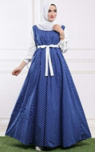 Online Shop Baju Hijab Trendy Amora Maxi Warna Biru Bahan Katun Denim