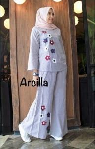 Online Shop Baju Hijabers Modern Cantik Arcilla Set-1 Bahan Katun