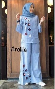 Online Shop Baju Hijabers Modern Cantik Arcilla Set-2 Bahan Katun