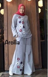 Online Shop Baju Hijabers Modern Cantik Arcilla Set-3 Bahan Katun