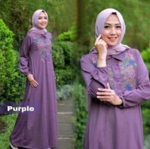 Online Shop Baju Hijabers Modern Misha Dress Busui Warna Purple Bahan Balotelli