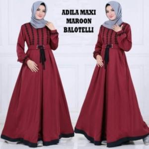Online Shop Baju Hijabers Modern Murah Adila Bahan Warna Maroon Bahan Balotelli
