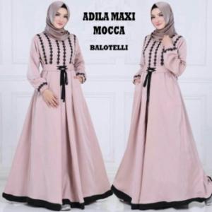 Online Shop Baju Hijabers Modern Murah Adila Bahan Warna Mocca Bahan Balotelli