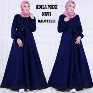 Online Shop Baju Hijabers Modern Murah Adila Bahan Warna Navy Bahan Balotelli