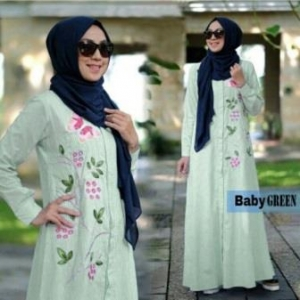 Online Shop Baju Hijabers Remaja Zahra Maxi Warna Baby Green Bahan Katun Yanded