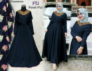 Online Shop Baju Hijabers Tampil Modern Danisa Syar'i Warna Navy Bahan Balotelli