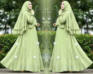 Jual Online Baju Gamis Pesta Jakarta Kirani Syar'i Warna Olive