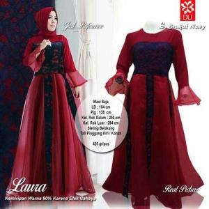 Supplier Baju Pesta Muslim Cantik Laura Maxi Warna Brukat Navy