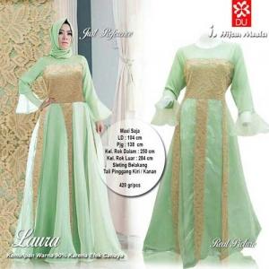Supplier Baju Pesta Muslim Cantik Laura Maxi Warna Hijau