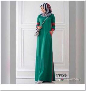 Busana Muslim Casual Leona Maxi Bahan Kaos Combed