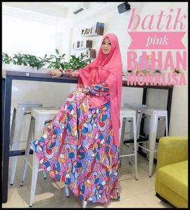 Busana Muslimah Syar'i Terbaru Batik Dress Bahan Monalisa