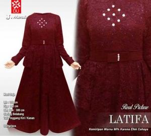 Distributor Baju Pesta Muslim Latifa Dress Bahan Brukat Timbul