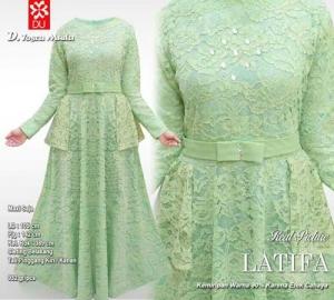 Distributor Baju Pesta Muslim Latifa Dress Bahan Brukat