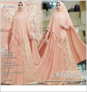Supplier Baju Gamis Pesta Melody Syar'i Bahan Ceruti